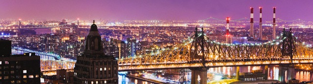 Queensborough Bridge and Roosevelt Island at Twilight