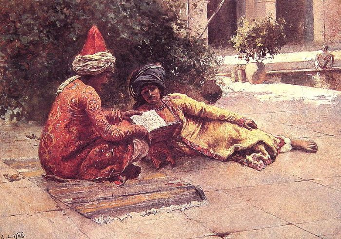 800px-Two_Arabs_Reading_in_a_Courtyard