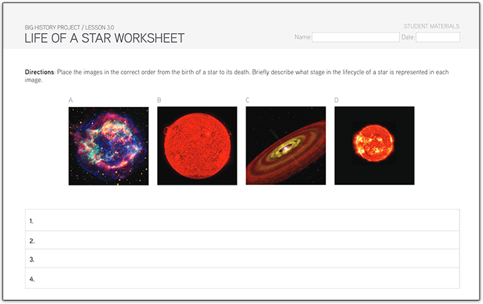 BHP and STEM – Life Cycle of a Star Worksheet